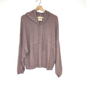 NWT Chaser waffle knit pullover hoodie rose top M